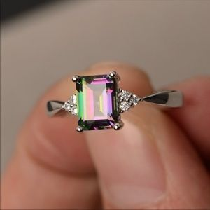Jewelry - Size 6 Silver Plated and Mystic Topaz Ring 🎁💍